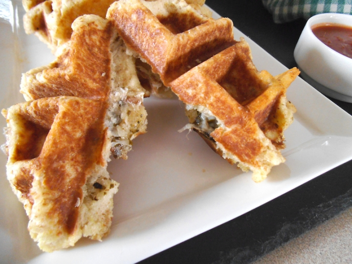 Lentil Pesto Pizza Waffles with Cheese | Swirls and Spice