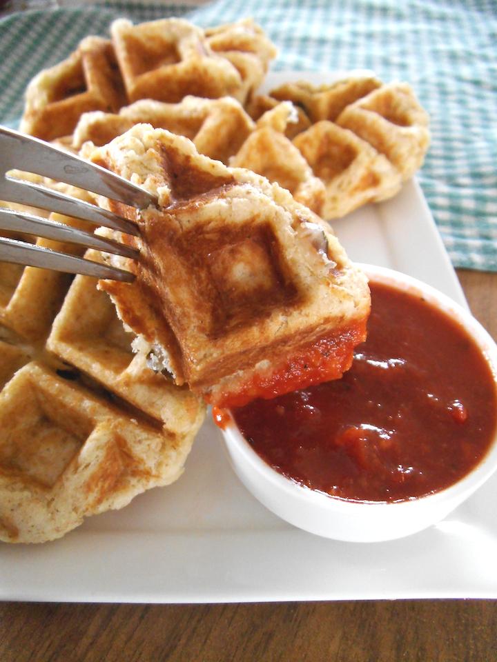 Lentil Pesto Pizza Waffles | Swirls and Spice