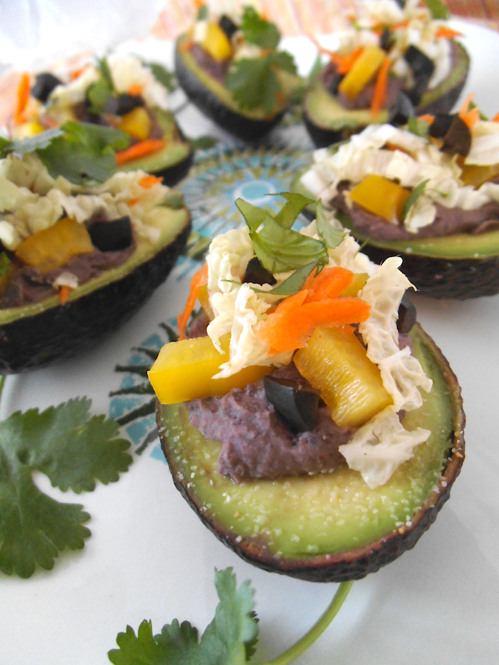 Black Bean Stuffed Avocados {with Vegan Option} | Swirls and Spice