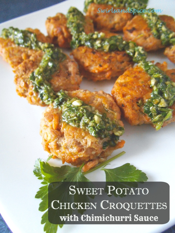 Sweet Potato Chicken Croquettes with Chimichurri Sauce | Swirls and Spice