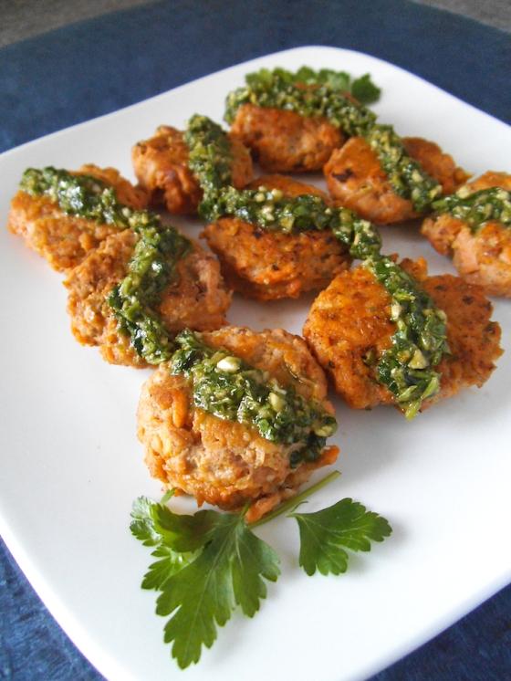 Sweet Potato Patties with Chimichurri Sauce | Swirls and Spice
