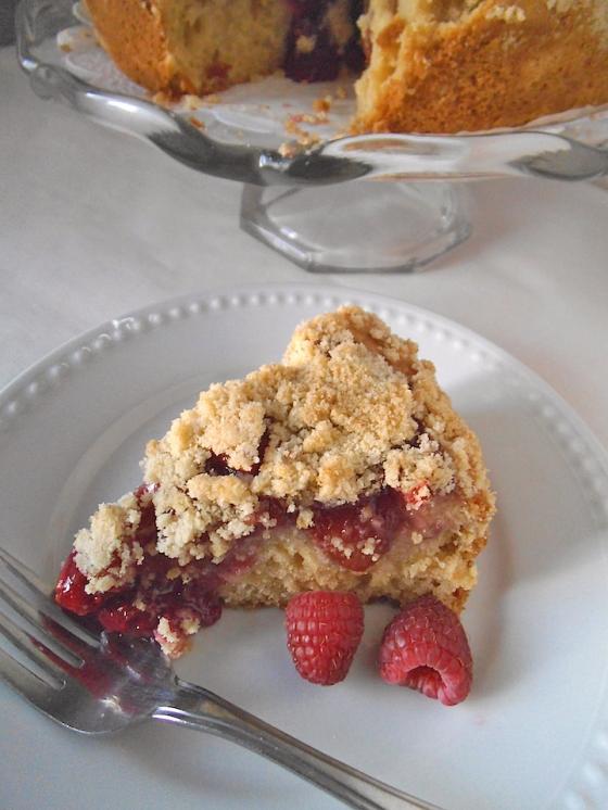 Raspberry Peach Crumble Cake | Swirls and Spice