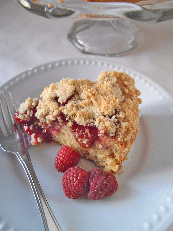 Raspberry Peach Crumble Cake – Swirls and Spice