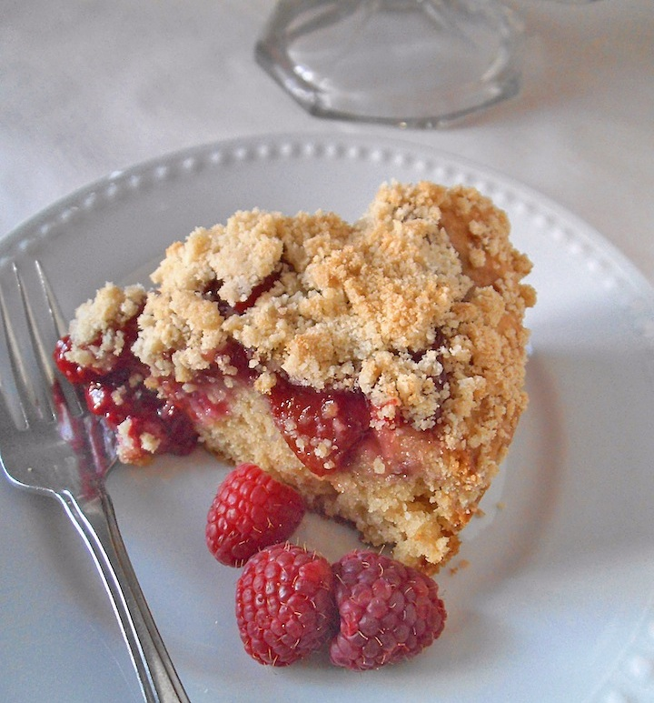 Raspberry Peach Crumble Cake | Swirls and Spice