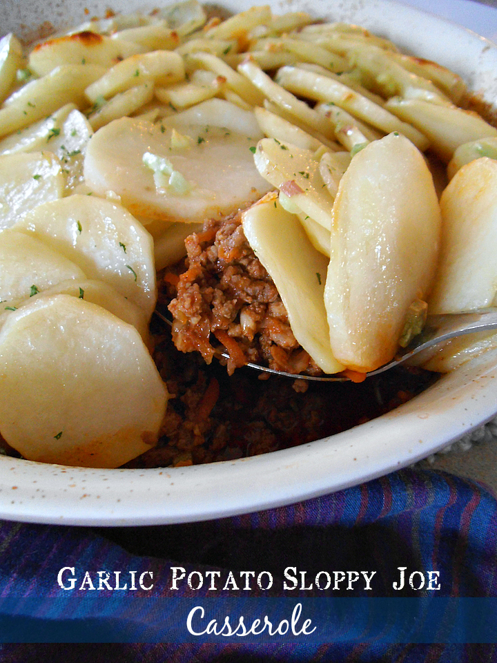 Garlic Potato Sloppy Joe Casserole | Swirls and Spice