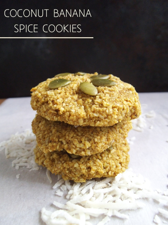 Banana Coconut Spice Cookies with Turmeric {4-ingredient recipe} | Swirls and Spice  #vegan