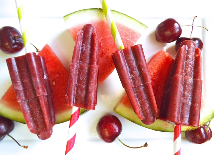 Cherry Watermelon Popsicles {100% Fruit} | Swirls and Spice