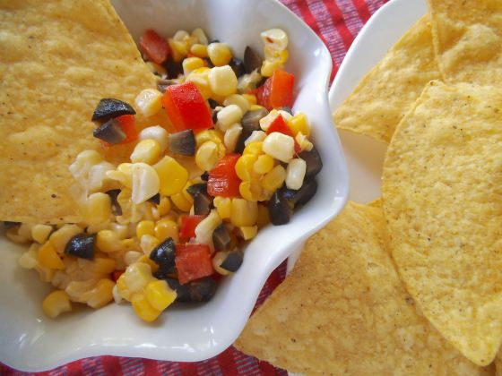 Corn and Red Pepper Relish with Olives | Swirls and Spice