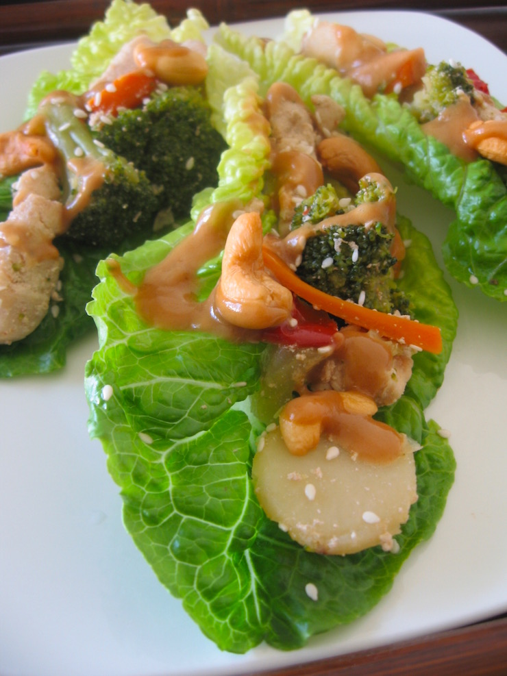Chicken Stir Fry Romaine Wraps with Peanut Sauce | Swirls and Spice