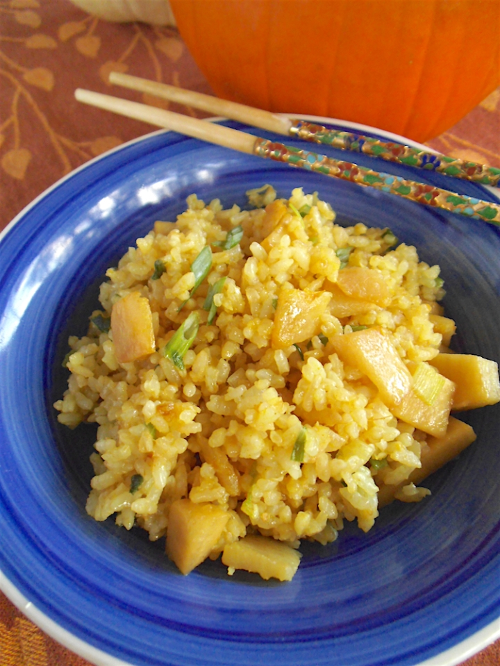 Pumpkin Fried Rice with Ginger | Swirls and Spice