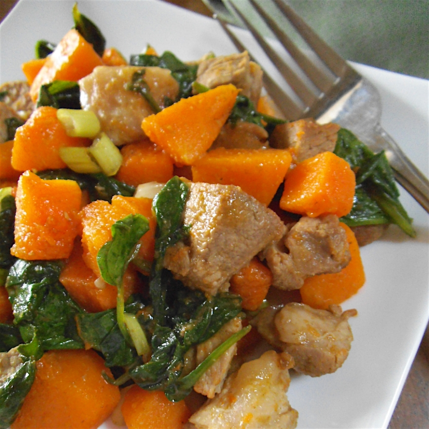 Butternut Squash Skillet with Lamb and Spinach