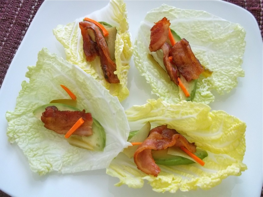 Avocado and Bacon Fresh Cabbage Wraps | Swirls and Spice