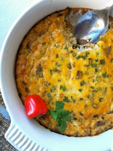 Vegetarian Breakfast Casserole with Grits and Split Peas