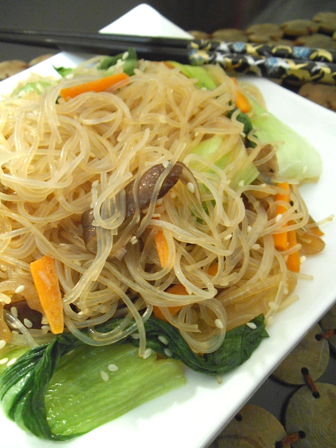 Jap Chae Noodles with Mushrooms and Bok Choy | Swirls and Spice