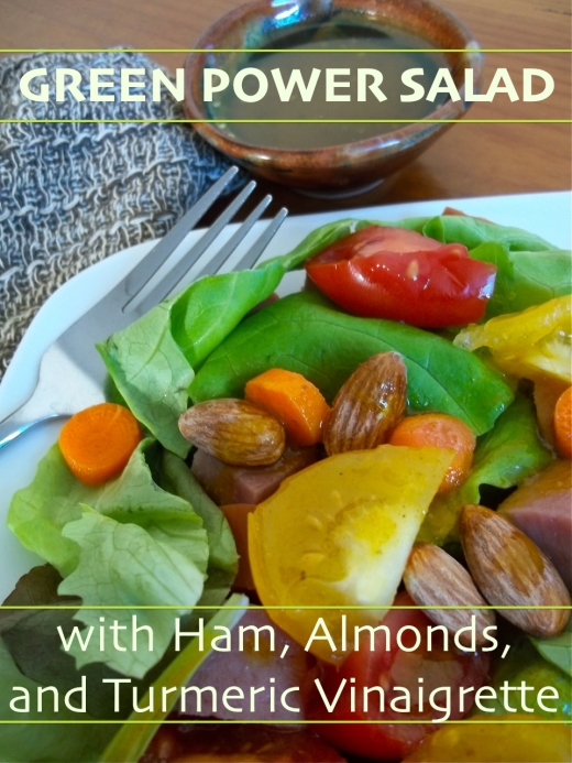 Green Power Salad with Ham, Almonds and Turmeric Vinaigrette   Swirls and Spice