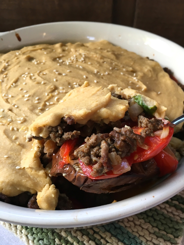 Sinaya Casserole with Eggplant and Hummus   Swirls and Spice
