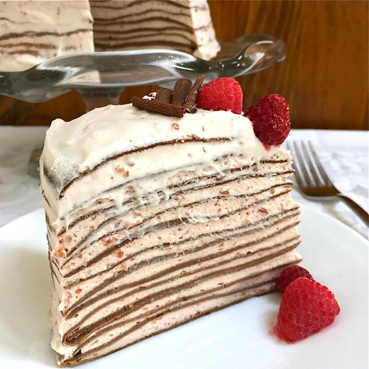 Raspberry Chocolate Crepe Cake | Swirls and Spice