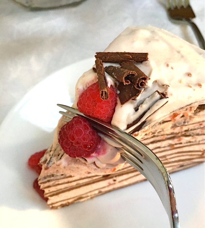 Raspberry Chocolate Crepe Cake | Swirls and Spice #glutenfree