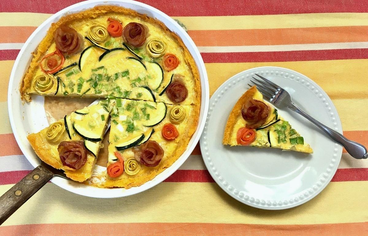 Savory Rosette Brunch Tart with Polenta Crust | Swirls and Spice
