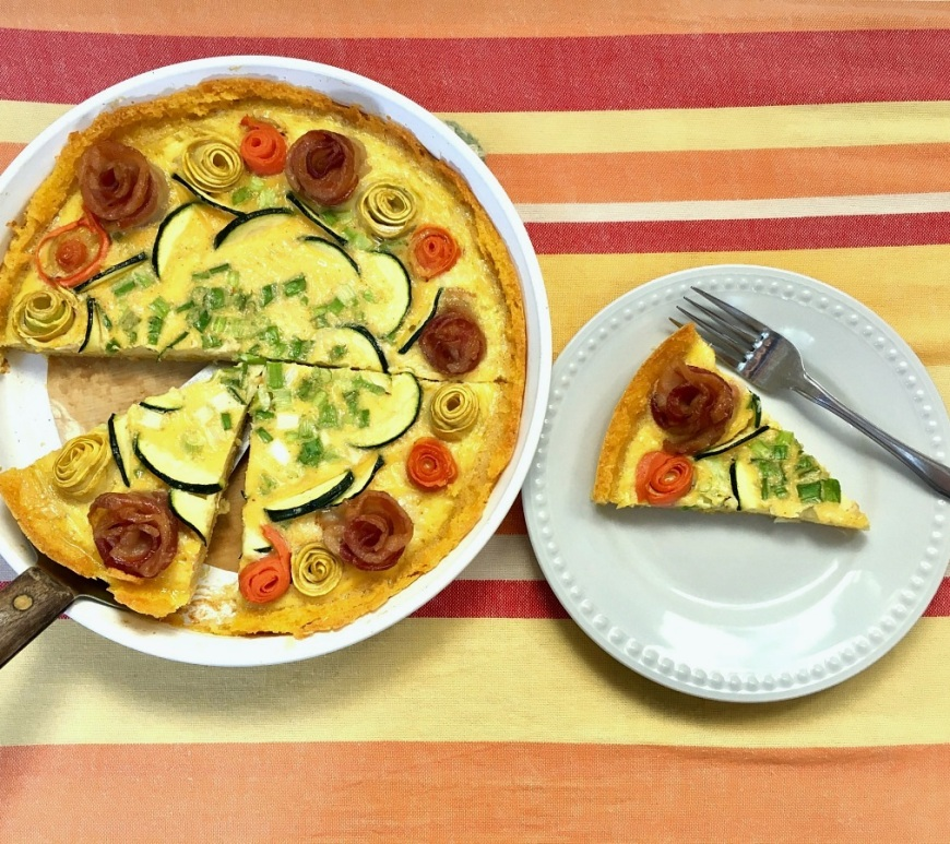 Savory Rosette Brunch Tart with Polenta Crust | Swirls and Spice