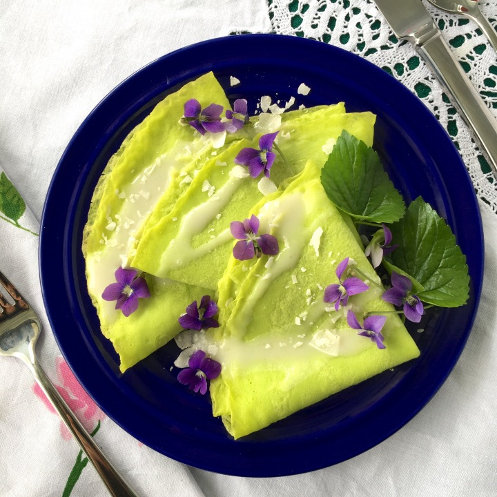 Pandan Crepes with Coconut Sauce {Gluten Free} | Swirls and Spice