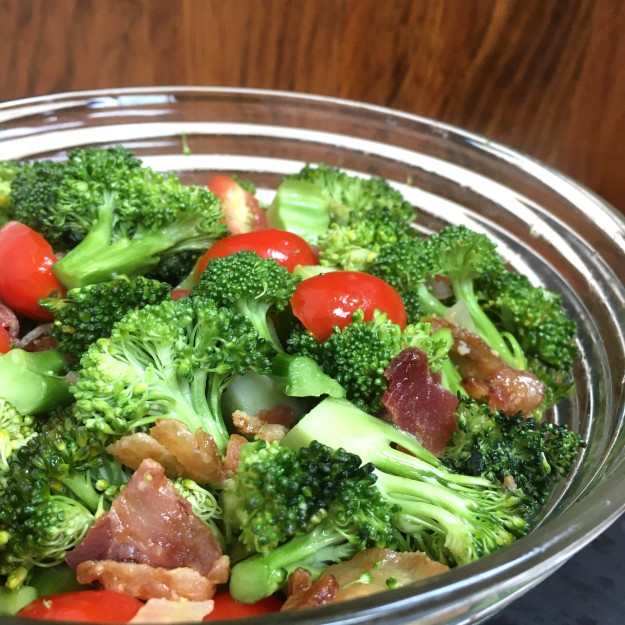Broccoli Bacon Tomato Salad by Swirls and Spice